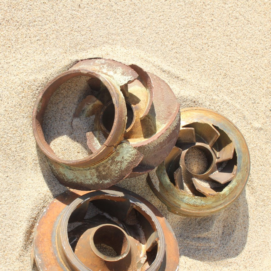 Broken impellers from sand