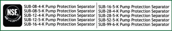 SUB-K Pump Protection Separators NSF