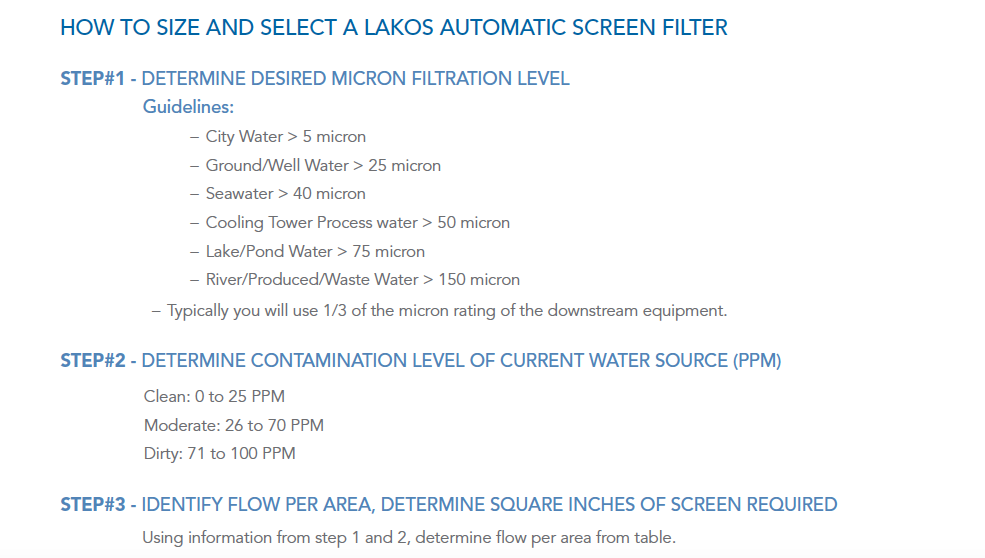 How to size and select a LAKOS Automatic Screen Filter